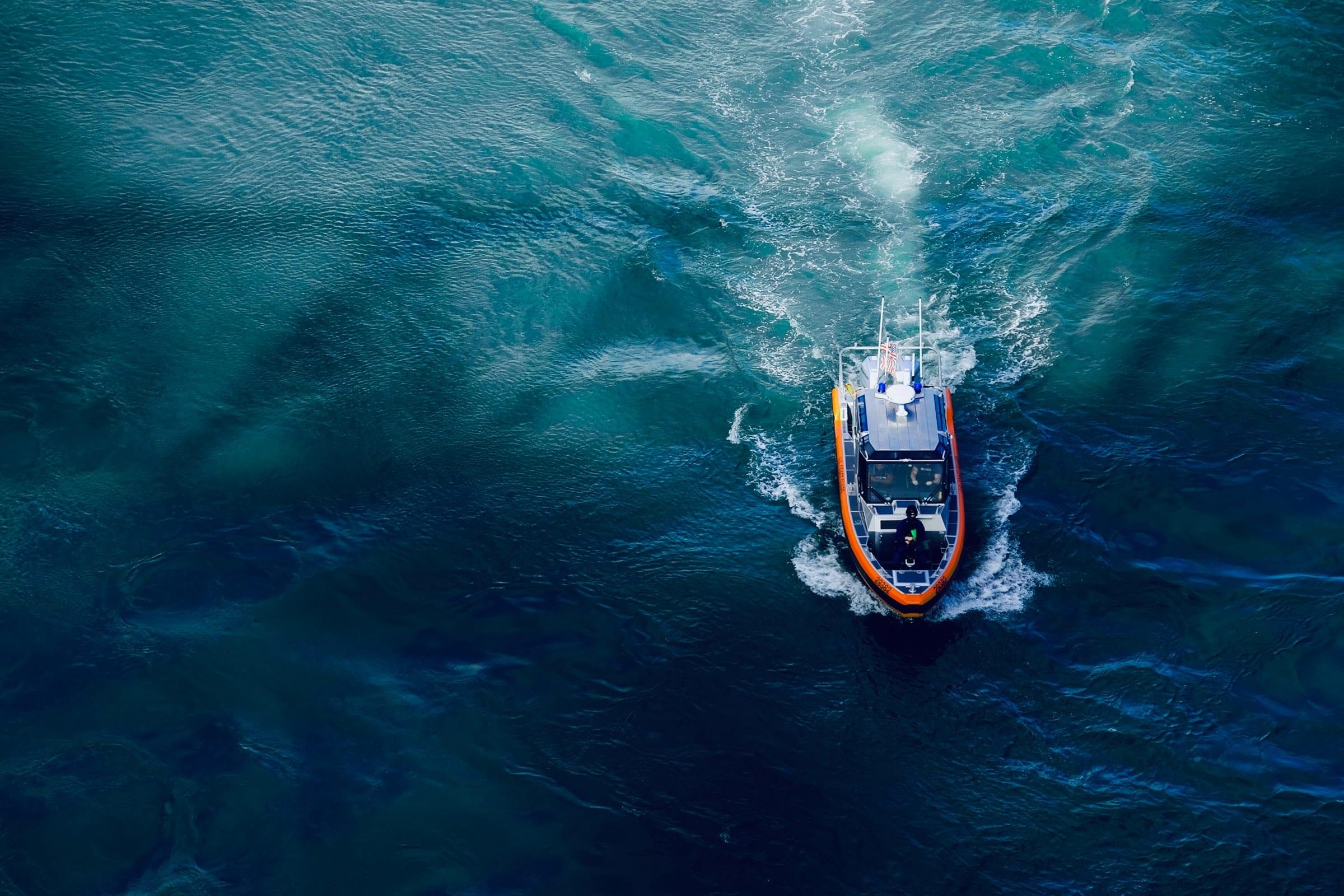 Rescue Boat in the Ocean